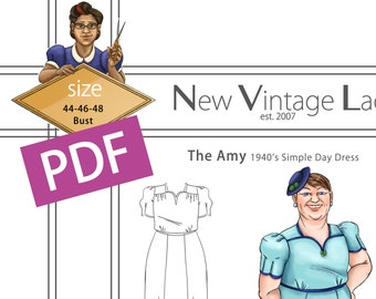 The Amy 1940s simple dress in PDF size 44-46-48 bust NVL plus size multi size repro vintage sewing patterns