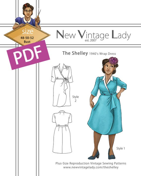 1940s Sewing Patterns – Dresses, Overalls, Lingerie etc The Shelley 1940s wrap dress in PDF size 48-50-52 bust NVL plus size multi size repro vintage sewing patterns $20.00 AT vintagedancer.com