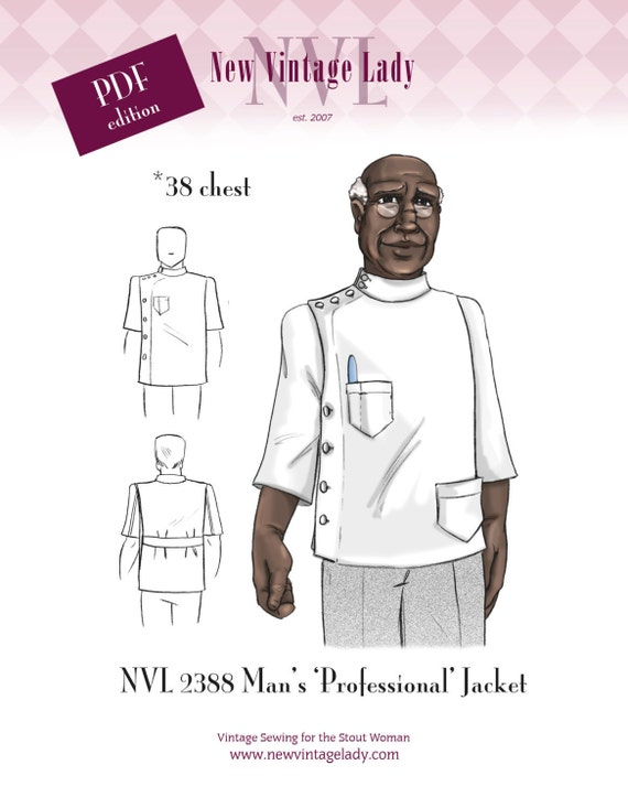 Men's Vintage Reproduction Sewing Patterns NVL 38 chest 1940s Mans Professional Jacket pattern in PDF 2388 $24.00 AT vintagedancer.com