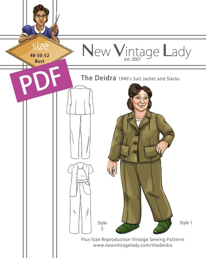 1930s Vintage Dresses, Clothing & Patterns Links The Deidra 1940s WWII slacks and jacket set in PDF size 48-50-52 bust NVL plus size multi size repro vintage sewing patterns $20.00 AT vintagedancer.com