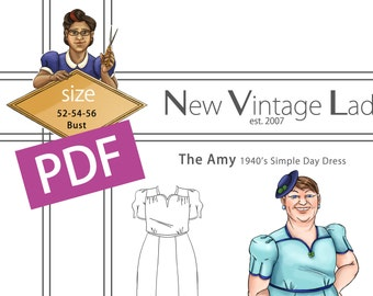 The Amy 1940s simple dress in PDF size 52-54-56 bust NVL plus size multi size repro vintage sewing patterns