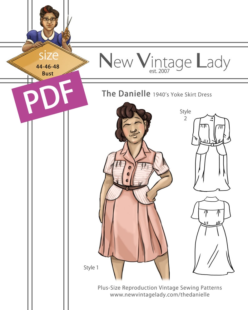 1940s Sewing Patterns – Dresses, Overalls, Lingerie etc The Danielle 1940s yoke skirt day dress in PDF 44-46-48 bust $20.00 AT vintagedancer.com