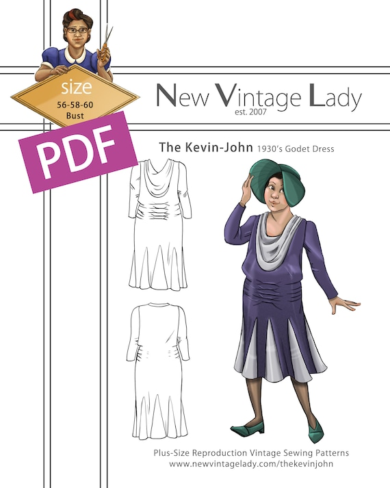 1930s Sewing Patterns- Dresses, Pants, Tops The Kevin-John 1930s Godet Dress PDF 56-58-60 bust $20.00 AT vintagedancer.com