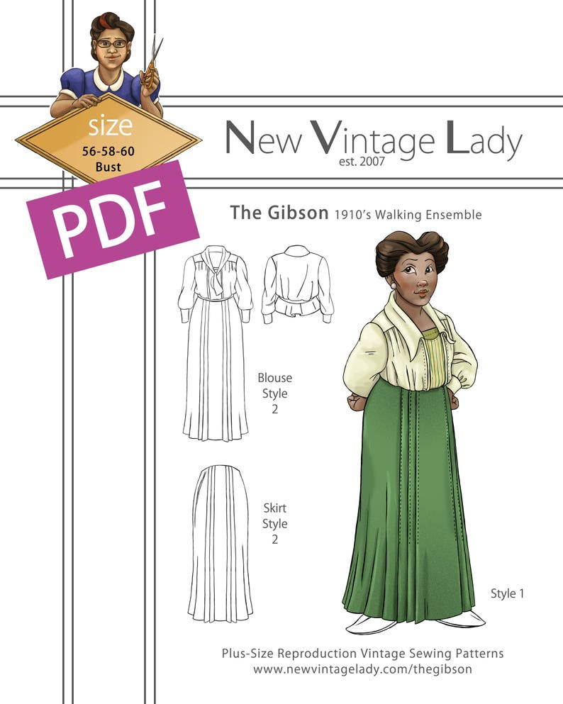 Edwardian Sewing Patterns- Dresses, Skirts, Blouses, Costumes The Gibson 1910 Walking Ensemble 56-58-60 bust NVL plus size multi size repro vintage sewing patterns $20.00 AT vintagedancer.com