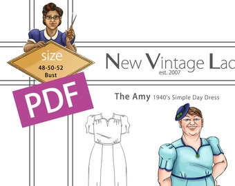 The Amy 1940s simple dress in PDF size 48-50-52 bust NVL plus size multi size repro vintage sewing patterns