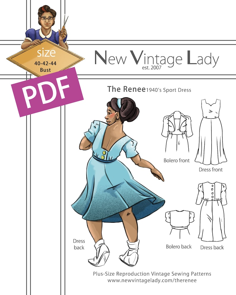 1940s Sewing Patterns – Dresses, Overalls, Lingerie etc The Renee a 1940s sport dress with bolero in PDF 40-42-44 bust $20.00 AT vintagedancer.com