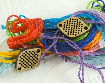 Cross stitch pendant blank, diamond connector pendant in bamboo