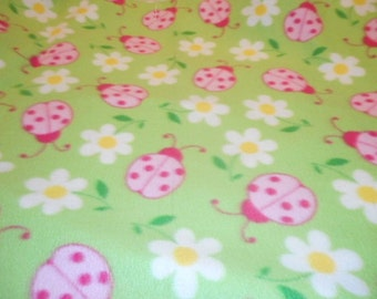 MadieBs Lady Bugs and Daisies  Fleece Blanket for Baby or Nursery New