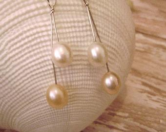 Organic Natural Freshwater Pearl Dangles, feminine, natural, wedding, bride, artisan, white, elegant, organic, drops, handmade, long, gift