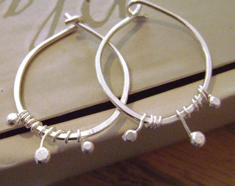Tiny Sprout Hoops, sterling silver, vine, nature, hoop, fine silver, dainty, feminine, Valentine's Day, rustic, nature, handcrafted, artisan