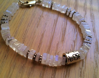 Rainbow Moonstone, World Series, Sterling Silver, Cubs, Bracelet, Love, gift, her, square, heishi, gems, winning, blue, flash,neutral,rustic