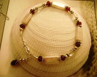 Rectangle Pearl, Rhodolite Garnet,Sterling Silver Bracelet,faceted,organic,gemstone, faceted, feminine, gifts for her,handmade,red, handmade