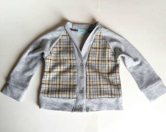 Gray plaid cardigan