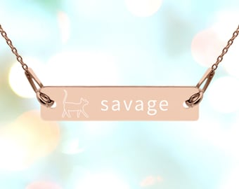 Savage Kitty Funny Engraved Silver Bar Chain Necklace