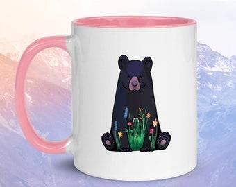 Flower Bear in Meadow Ceramic Mug with Color Inside