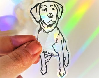 Prismatic dog suncatcher, rainbow window sticker, yellow lab puppy gift