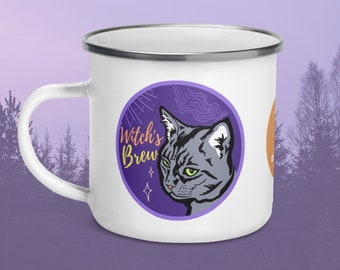 Witch's Brew Campfire Mug, Halloween Cat Coffee Cup, Witchy Gothic Mug, Black Cat Tea Cup