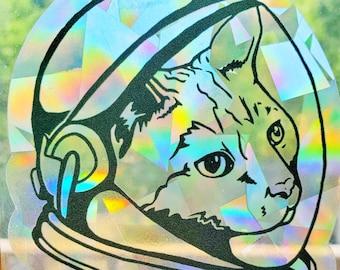 Prismatic space cat window decal, unique rainbow suncatcher sticker, animal lover gift