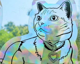 Prismatic heart kitty window decal, unique animal lover gift, rainbow suncatcher sticker