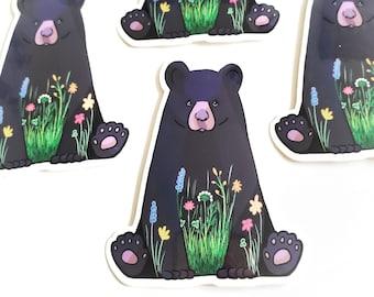 Sitting Bear in Flower Meadow Vinyl Sticker