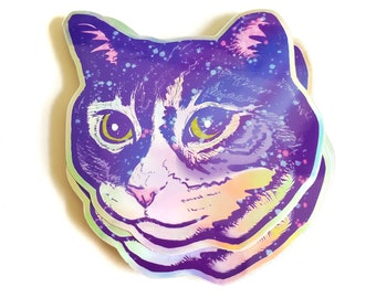 Galaxy cat sticker, cat lover gift, rainbow holographic space sticker, nerdy science stickers