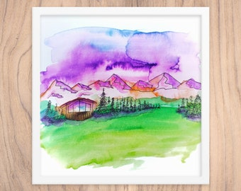 Mountain Cabin Framed Art Print