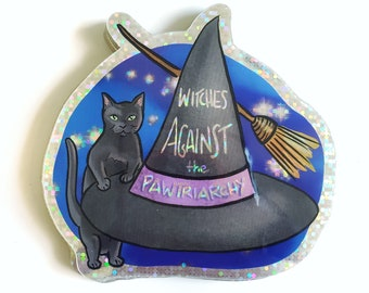 Witches Against the Pawtriarchy glitter holographic vinyl sticker - dishwasher safe, waterproof, weatherproof