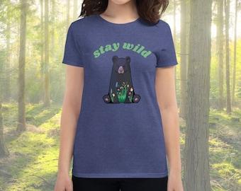 Retro Stay Wild Bear Short Sleeve Tee
