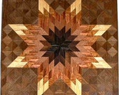 Medium Brown Tone on Walnut Lone Star Quilt Block