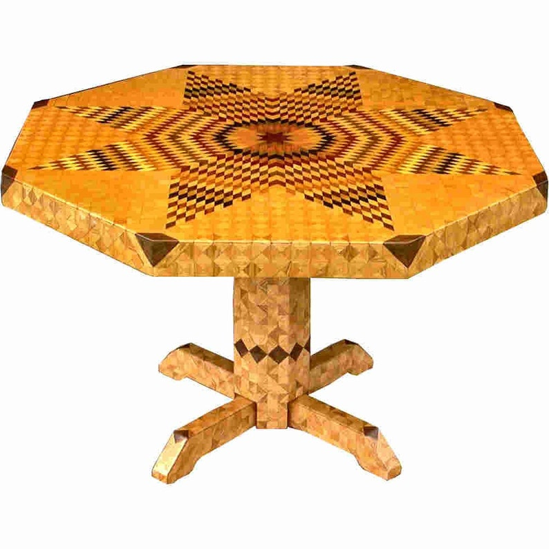 Large Flickering Lone Star Oak Table image 0
