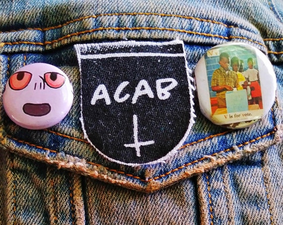 ACAB pin pinback button badge perfect for jackets, vests, and more