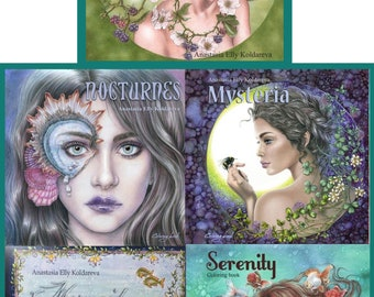 All 5 books - Anastasia Elly Koldareva's Coloring Books - Serenity and Mermaid Legends and Nocturnes and Mysteria and Amarantine