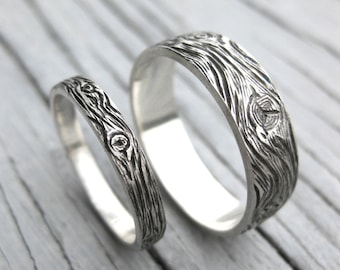 Woodgrain BARNWOOD wedding band SET sterling silver cedar wood grain matching rings faux bois Made to Order mens womens