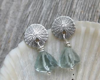 tiny SAND DOLLAR earrings AQUAMARINE seashell studs sterling silver post earrings