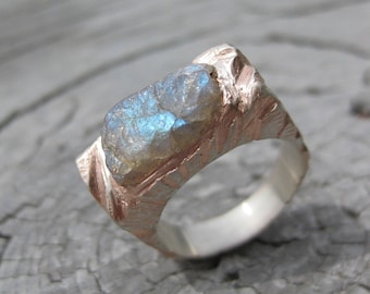 INCLUSION RING blue flash LABRADORITE ring rough crystal sterling silver rose gold plated ring ooak size 6 ready to ship