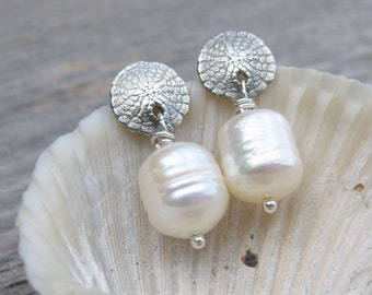 tiny SAND DOLLAR earrings PEARL seashell studs sterling silver post earrings