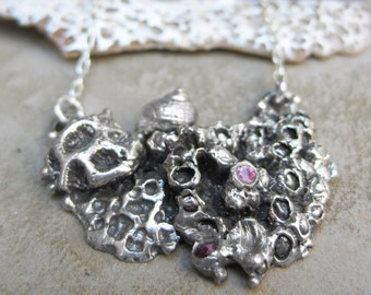 barnacle cluster TIDEPOOL pendant with 2 pink sapphires sterling silver seashell necklace