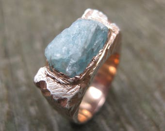 INCLUSION RING aqua blue APATITE ring rough crystal sterling silver rose gold plated ring ooak size 5 3/4 ready to ship