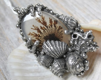 Dendritic Agate seaweed tide pool necklace shell collage reversible pendant ready to ship