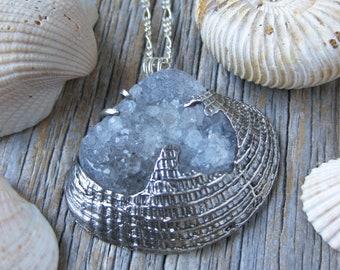 TIDEPOOL pendant druzy quartz sterling seashell necklace