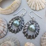 Seashell aqua pearl LIMPET sterling silver earrings