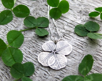 SHAMROCK lucky 4 leaf clover charm necklace, sterling silver St. Patrick's Day pendant