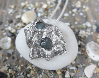 tiny OYSTER shell with 2 pale blue alluvial rough sapphires sterling silver seashell necklace