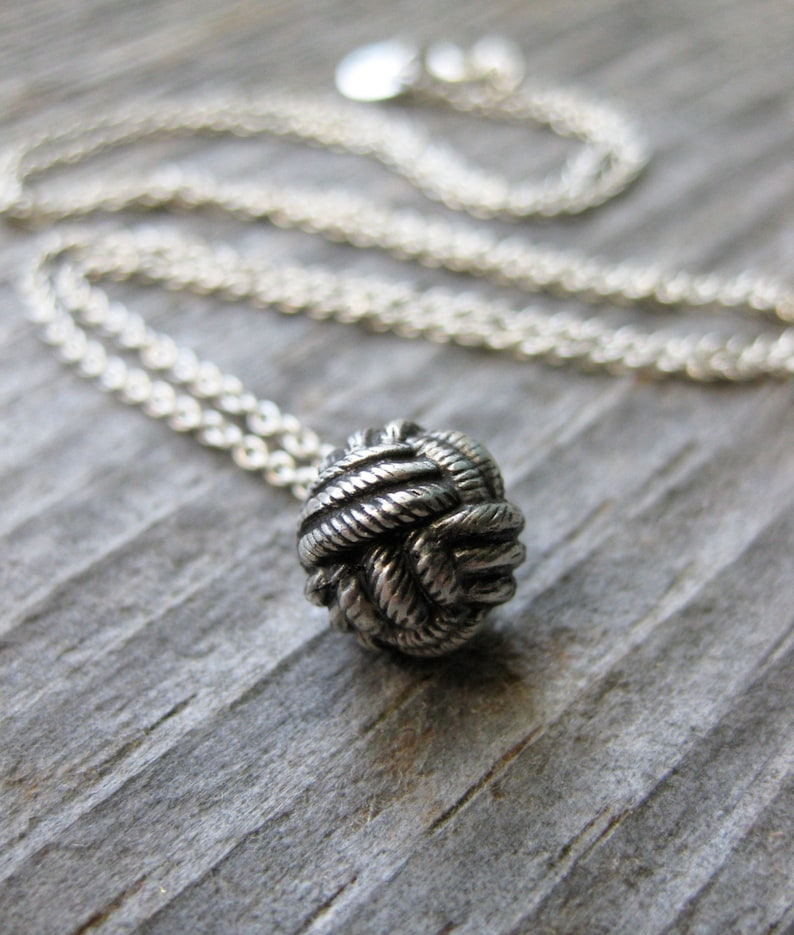 monkey fist KNOT Victorian Button sterling silver necklace