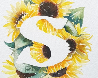 S is for Sunflower  - 8×10 Original watercolor