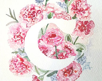 C is for Carnation  - 8×10 Original watercolor