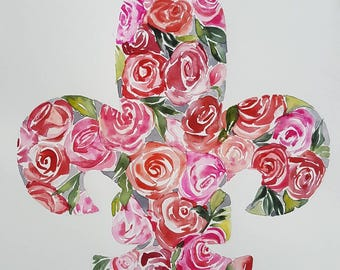 Fleur de lis Original watercolor by Amy Woods - red and pink roses