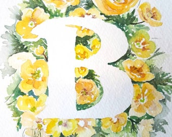 B is for Buttercup  - 8×10 Original watercolor