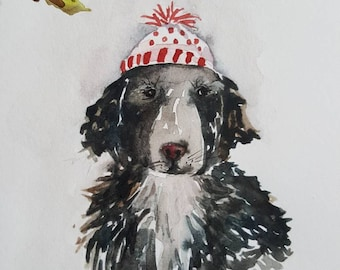 Original Black Dog watercolor 8×10, The Knitter's Dog
