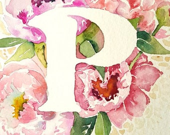 P is for Peony  - 8×10 Original watercolor